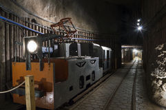 Underground Tunnel And Machine In The Salt Mine Royalty Free Stock Photography