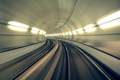 Underground Tunnel in Blurred Motion, Brescia, Italy. Underground train is speeding fast in a tunnel Royalty Free Stock Photo