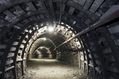 Underground tunnel in the coal mine Stock Images