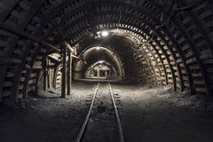 Underground tunnel in the coal mine Royalty Free Stock Photo