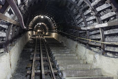 Underground tunnel in the coal mine Royalty Free Stock Photos