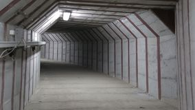 Underground tunnel. New empty underground tunnel with the light stock video footage