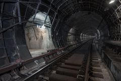 Underground tunnel. Rail way. In a subway tunnel Stock Photo