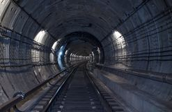 Underground tunnel. Rail way. In a subway tunnel Royalty Free Stock Photos