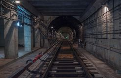 Underground tunnel. Rail way. In a subway tunnel Royalty Free Stock Photo