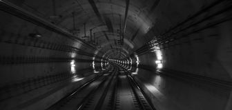 underground tunnel speed blur background black and white Stock Images