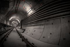 Underground tunnel for the subway Stock Images