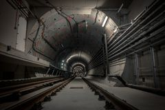 Underground tunnel for the subway Stock Photography