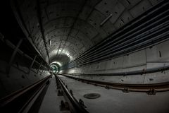 Underground tunnel for the subway Royalty Free Stock Photography