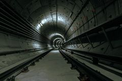 Underground tunnel for the subway Royalty Free Stock Image
