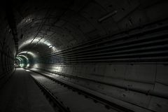 Underground tunnel for the subway Royalty Free Stock Photos