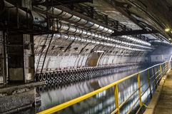 Underground Tunnel with Water. Royalty Free Stock Photography