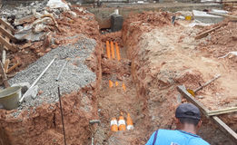 Underground utilities trenches. Royalty Free Stock Image