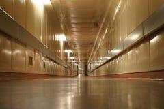 Underground walkway. Empty underground walkway leading under a road to a hospital. (Christchurch public Hospital, New Zealand stock photo
