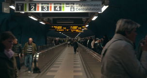 Underground Walkway in Stockholm Subway stock video