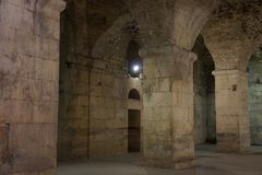 Underground walls of Diocletian palace in Split Royalty Free Stock Photos