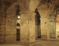 Underground walls of Diocletian palace in Split Stock Images