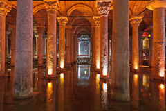 Underground water Basilica Cistern - Istanbul Stock Image