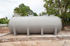 Underground water reserve tank preparing in construction site pl Royalty Free Stock Photography