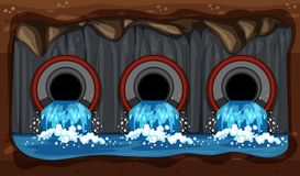 Underground Water Sewer Pipe System. Illustration vector illustration