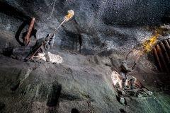 Underground Wieliczka Salt Mine 13th century, one of the world`s oldest salt mines, near Krakow, Poland. Underground Wieliczka Salt Mine 13th century, one of Royalty Free Stock Images