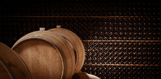 Underground wine cellar, Wooden barrels, bottles storage, Royalty Free Stock Image