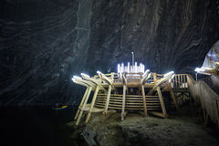 Underground wood structures in Turda Salt Mine Royalty Free Stock Photography