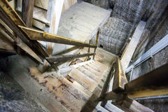 Underground woodstaircase in Turda Salt Mine Royalty Free Stock Photos