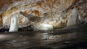 Underground world of Dobsinska ice cave , Slovakia stock photography