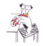 Underhållande hund som stjäler korven eller mat från tabellen Rolig busig vovve som isoleras på vit bakgrund Dåligt uppförande av vektor illustrationer