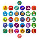Underhållning, kommers, musik och annan rengöringsduksymbol i plan stil , restaurang, rörmokeri, grönsaker, symboler i uppsättnin stock illustrationer