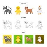 Underhållning, lantgård, husdjur och annan rengöringsduksymbol i tecknade filmen, översikt, lägenhetstil Ägg leksak, rekreationsy Arkivfoton