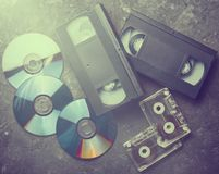 Underhållning- och massmediateknologi från 90-tal Royaltyfri Fotografi