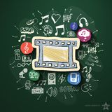 Underhållning och musikcollage med symboler på Arkivbilder