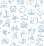 Underhållning för barn` s och fritid, bakgrund, sömlöst som är vit, blått Arkivfoto