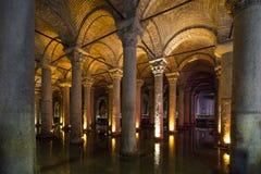 Underjordisk basilikacistern, Istanbul, Turkiet Arkivbild