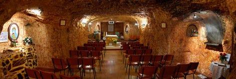 Underjordisk katolsk kyrka i Coober Pedy Royaltyfria Foton