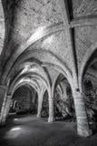 Underjordisk passage på den Chillon slotten - Veytaux, Schweiz royaltyfri fotografi