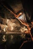 Underjordisk sjö i Wieliczka salta miner Arkivbilder