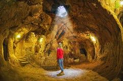 Underjordisk stad för Derinkuyu grotta, Cappadocia Royaltyfri Bild