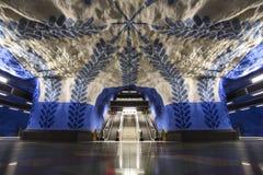 Underjordisk station T-Centralen i Stockholm, Sverige royaltyfria bilder