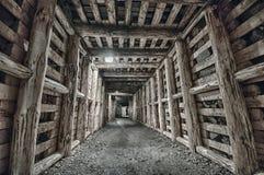 Underjordisk tunnel i minen Royaltyfria Foton
