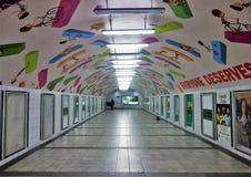 Underjordisk tunnel med det konst målade taket royaltyfri foto