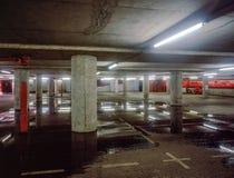 Underjordiska Carpark översvämmade Royaltyfri Foto