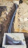 Underjordiska korrugerade rör Arkivfoto