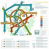 Underjordiskt infographic med linjer av tunnelbanan på stadsöversikt Arkivbilder
