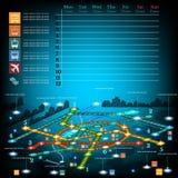 Underjordiskt infographic med linjer av tunnelbanan på stadsöversikt Arkivfoton