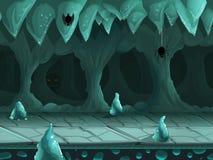 Underjordiskt landskap för sömlös tecknad film, oupphörlig bakgrund för vektor med avskilda lager royaltyfri illustrationer