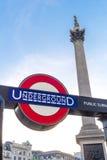 Underjordiskt underteckna in Trafalgar Square Arkivfoton