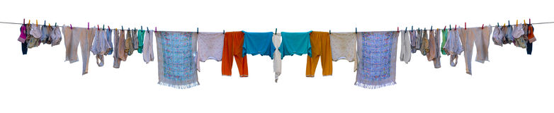 Underkläderdrying på ett rep Fotografering för Bildbyråer